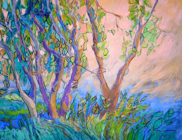 Abstract Trees Spring Landscape Print by Dorothy Fagan