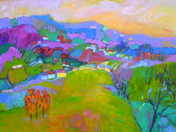 Abstract Purple Mountain Landscape Painting, Print by Dorothy Fagan