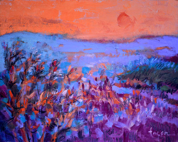 Abstract Purple Landscape Painting, Art Print by Dorothy Fagan