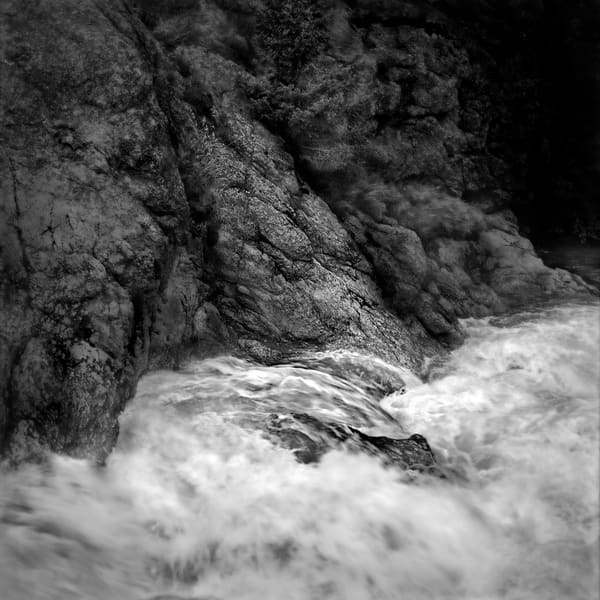 The Serenity of Water - bw | Water and Rocks - bw. A detail of Colorado stream with abstract quality. Fine art black and white photograph by David Zlotky.