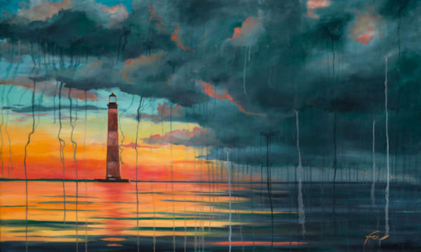 Storm at Morris Island Lighthouse | oil on canvas