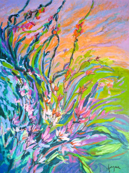 Large Coral Flower Painting Canvas Print by Dorothy Fagan