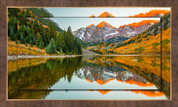 Maroon Bells Sunrise Pano 3D Bronze Wide