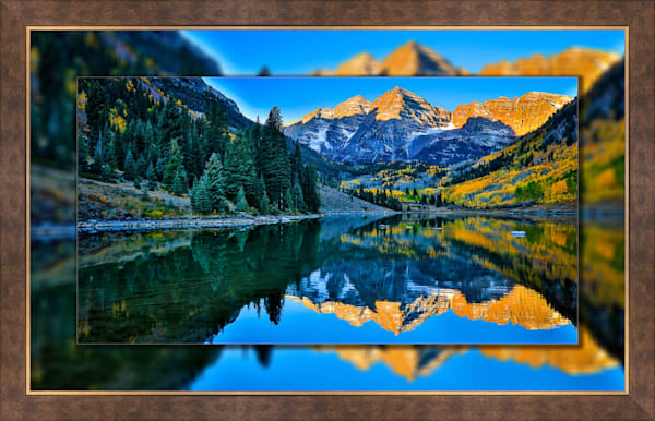 Maroon Bells Blue Pano 3D Bronze Wide