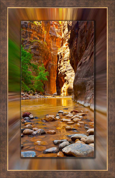 Zion - Narrows Pano 3D Bronze Wide