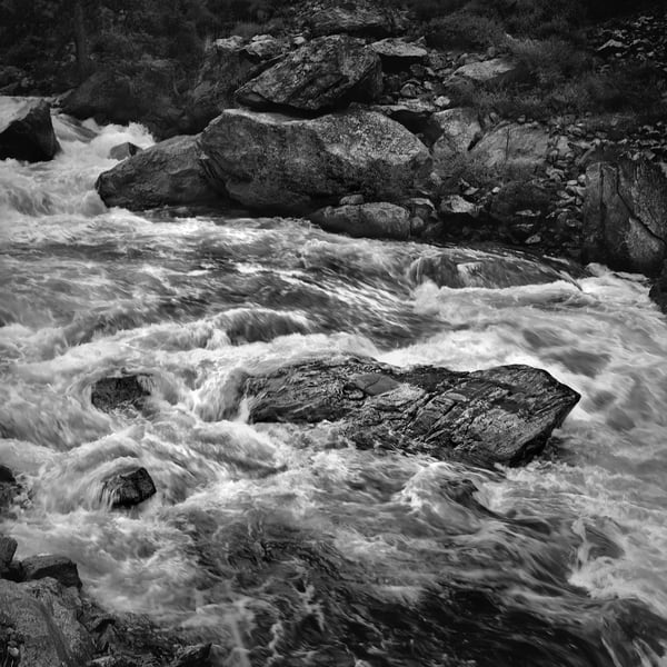 The Serenity of Water - bw | Ships that Pass, the Poudre' Canyon. A black and white, fine art photograph of river rapids by David Zlotky.
