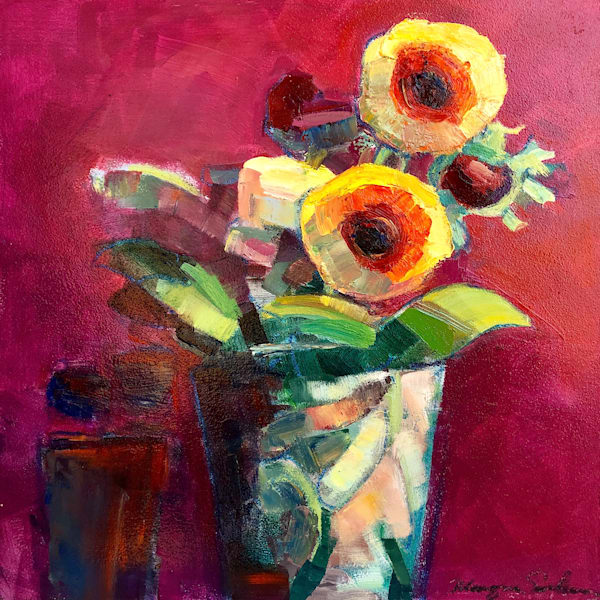 """Still Life With 7 Mixed  Ranunculus  with Heart Shaped Macarons Still Life"" by Monique Sarkessian. Loads of charm! Original  art by Monique Sarkessian. oil paint and mixed media on 12""x12"" x.75"" wood cradleboard framed with a white wood floater fra"