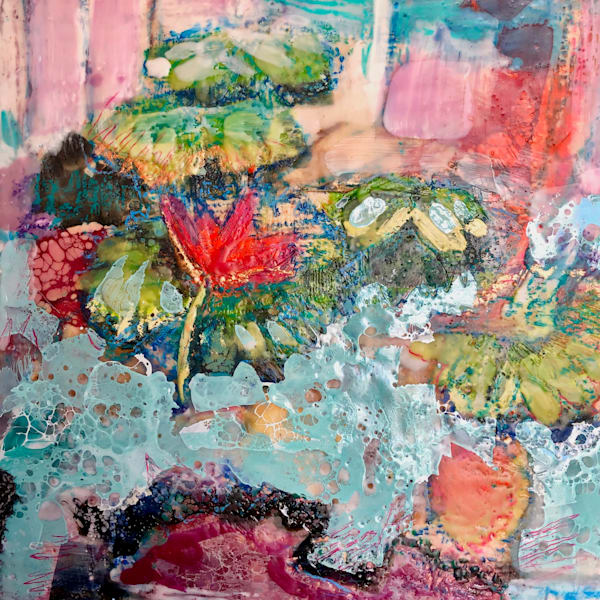 "Stunning ""Longwood Waterlilies 12"" original encaustic wax and mixed media painting on wood by Monique Sarkessian."
