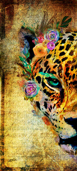 Bright and bold jaguar art from the garden of the wild series by Sally Barlow