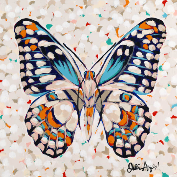 A print of an acrylic painting of a colorful butterfly by Jodi Augustine Art.
