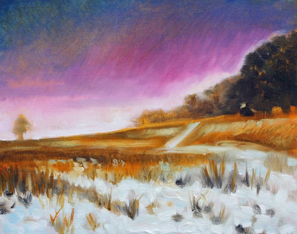 Snowy field at twilight fine art open edition print