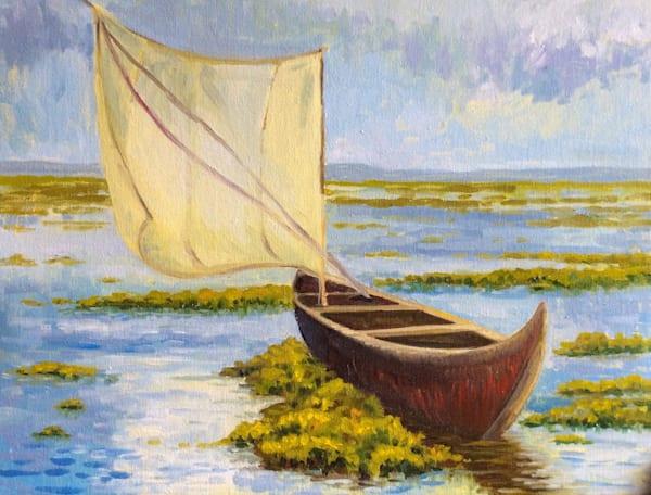Small boat in Kerala fine art open edition print
