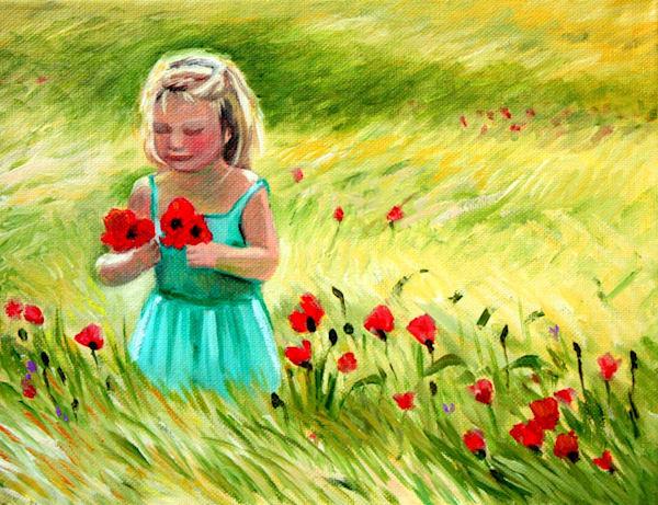 Towhead picking poppies fine art open edition print