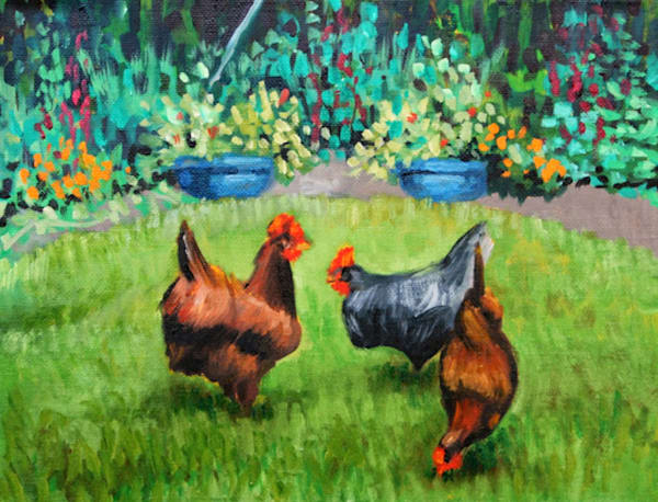 Farmyard friends fine art print by Hilary J. England