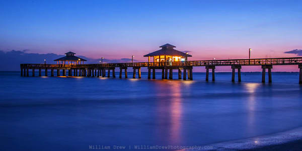 Dusk at the Pier - Florida Wall Murals | William Drew Photography