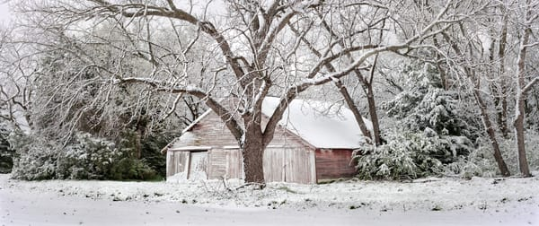 Panoramas/Wide View Collection - color | Spring Snow - color. Wide-view composition of great old outbuilding. David Zlotky fine art color photograph.