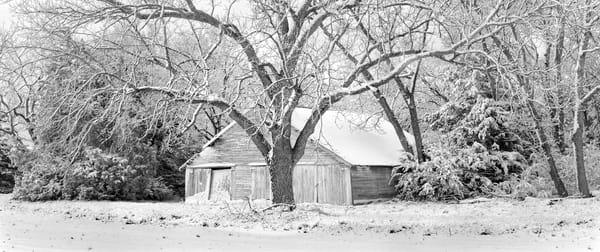 Panoramas/Wide View Collection - bw   Spring Snow - bw. A wide-view format fine art photograph of a classic outbuilding by David Zlotky.