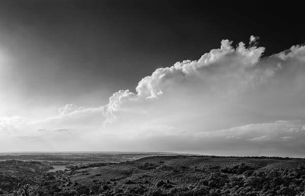 Panoramas/Wide View Collection -bw | Flint Hills Overlook on Highway 177 - bw. Black and white fine art photograph of beautiful prairie storm view by David Zlotky.
