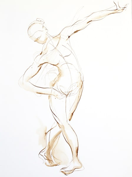 Original Dancing Figure Line Drawing