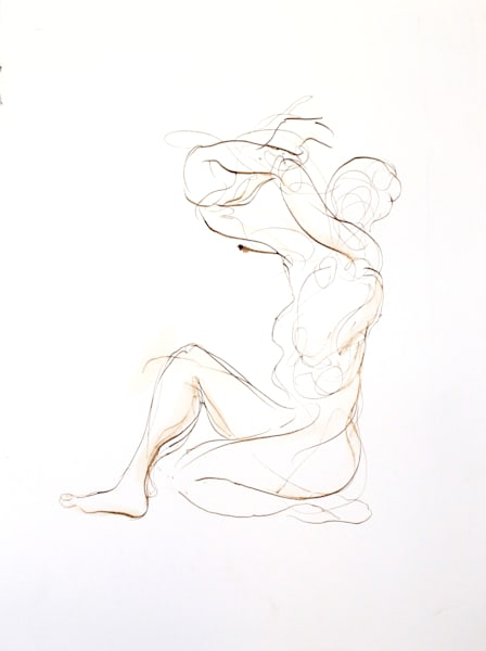 Original Ink Drawing - Female Seated with Crossed Arms