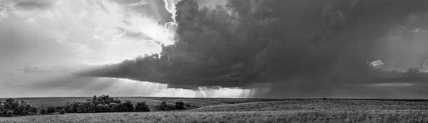 Storms over the Prairie Collection - bw | Storm Over the Kansas Flint Hills - bw. Evening thunderstorm approaching. Fine art photograph by David Zlotky
