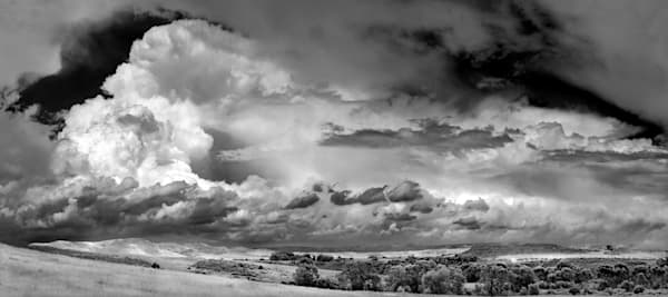 Panoramas/Wide View Collection - bw | Ranch Land Thunderhead - bw. Black and white fine art photograph. Colorado thunderstorm. By David Zlotky.