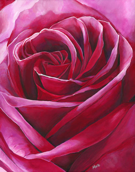 "A close up artsy view of red rose petals painted with acrylic on canvas by artist Mary Anne Hjelmfelt titled ""Intimate""."