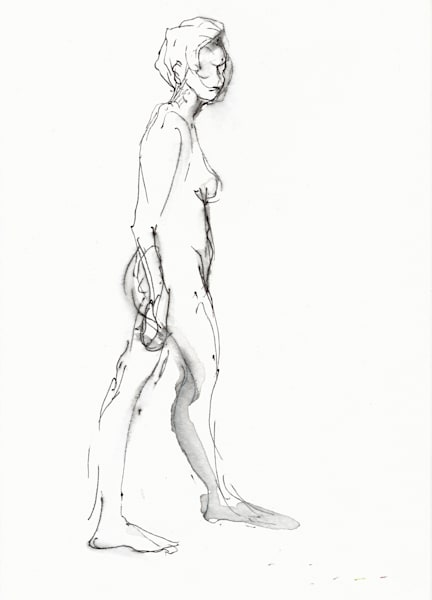 Original Female Figure Line Drawing in Black Ink