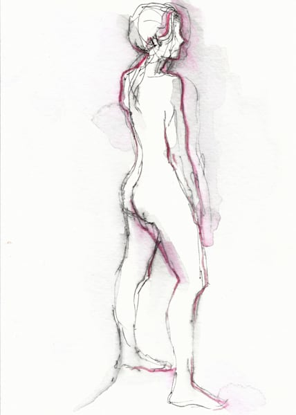Mixed Media Nude Female Figure Drawing