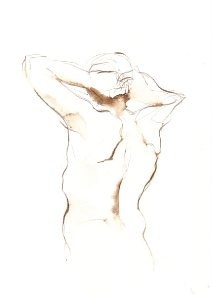 5x7 Nude Male Back Original Drawing
