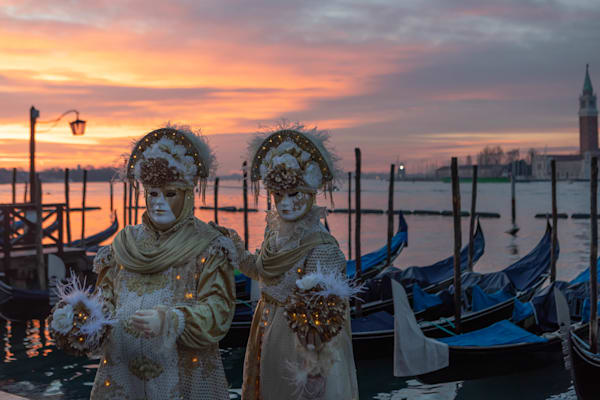 Carnevale Models at Sunrise in Venice by Douglas Sandquist DDS