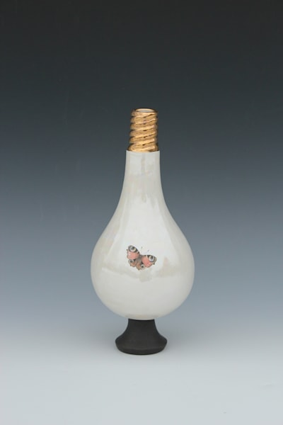 Small Light Bulb Vase Orange Butterfly | Gerard Ferrari LLC