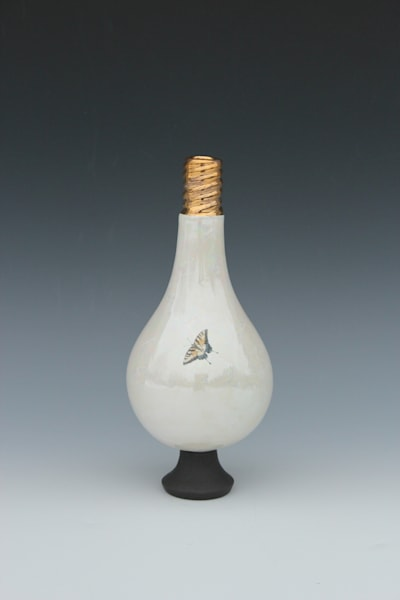 Small Light Bulb Vase Yellow Butterfly | Gerard Ferrari LLC