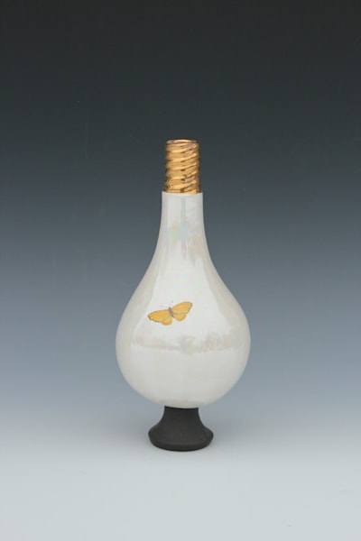 Small Light Bulb Vase Bright Yellow Butterfly | Gerard Ferrari LLC