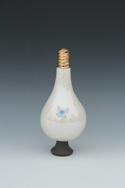 Small Light Bulb Vase Blue Butterfly | Gerard Ferrari LLC