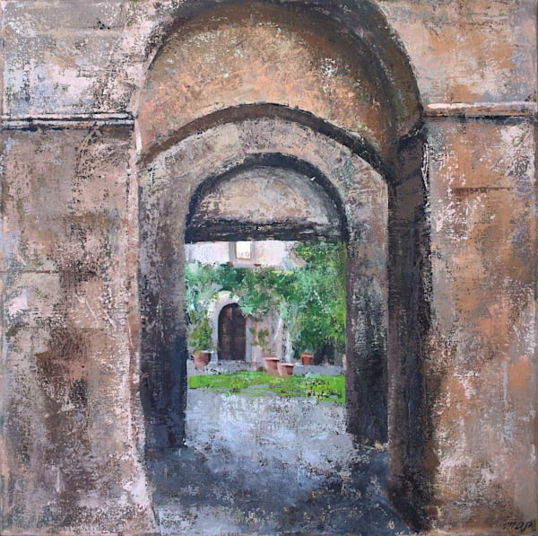 Courtyard: Bagnoregio Original Italy Oil Painting