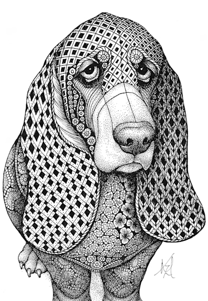 "Bassett Hound Art | Kristin Moger ""Seriously Fun Art"""