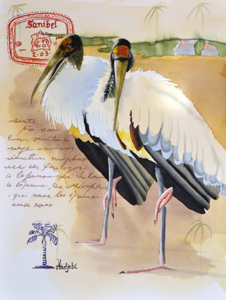 A painting of two wood storks on Sanibel Island