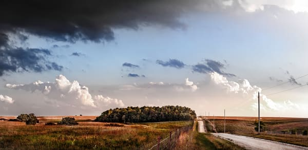 Panoramas/Wide View Collection - color | Back Road, the Kansas Flint Hills - color. Striking wide-view scene of rural road and thunderstorm. David Zlotky photograph.