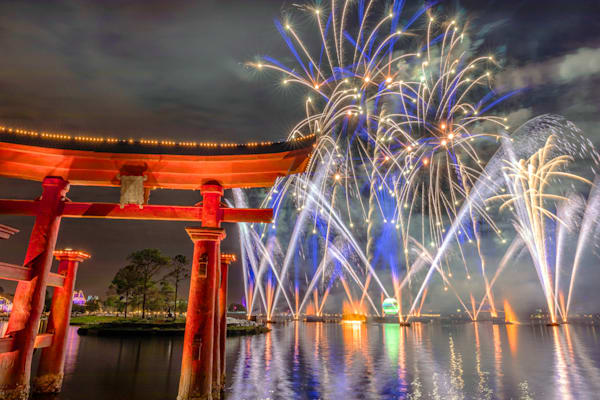 Epcot Torii and Fireworks - Disney World Canvas | William Drew Photography