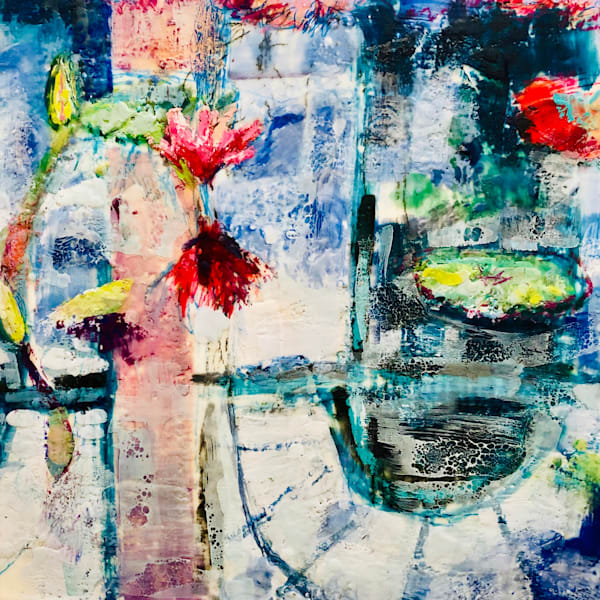 """""""Longwood Waterlilies 11"""". Loads of character! Original art by Monique Sarkessian. Encaustic Wax and mixed media on wood cradleboard measures 18x18"""" and is framed."""