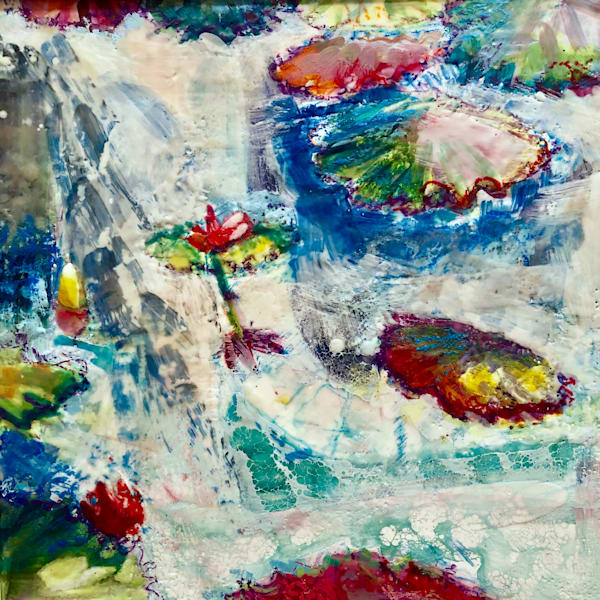 """""""Longwood Waterlilies 13"""". Loads of character! Original art by Monique Sarkessian. Encaustic Wax and mixed media on wood cradleboard measures 18x18"""" and is framed."""