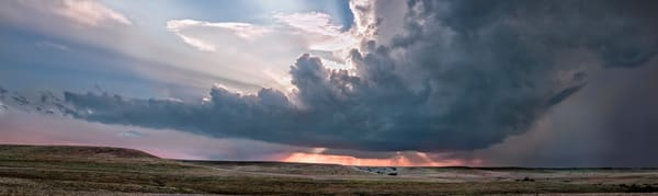 Storms Over the Prairie Collection - color | Storm Over the Ridge, the Kansas Flint Hills. Approaching evening storm. Fine art photograph by David Zlotky