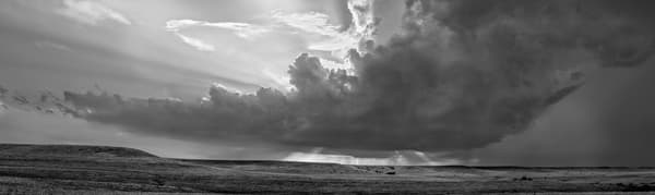 Panoramas/Wide View - bw | Storm Over the Ridge, the Kansas Flint Hills - bw. Black and white fine art photograph of storm advancing over a prairie ridge. By David Zlotky