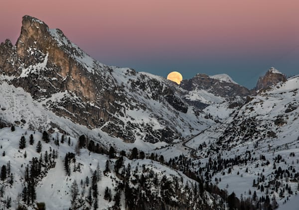 Super Moon Setting in the Dolomites