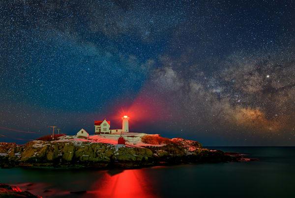 Milky Way Over The Nubble by Rick Berk