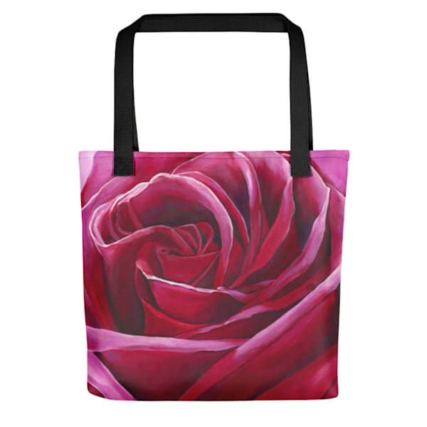 "Stylish, colorful tote bags with original artwork of "" a rose titled: Intimate""by Mary Anne Hjelmfelt."