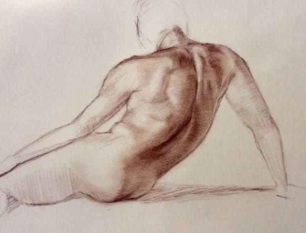 Study of Male Torso in Sepia Open Edition Fine Art Print