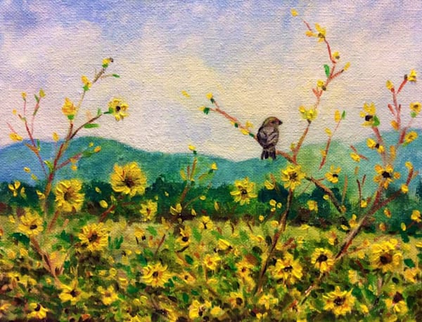 Chickadee in the Sunflowers Fine Art Open Edition Print