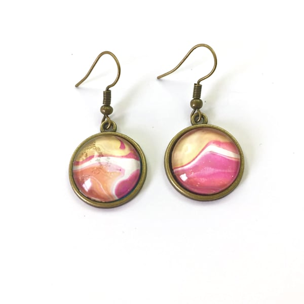Hand Painted Earrings, Antique Bronze Tone